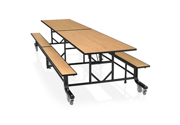 "29""H Fold and Roll Rectangular Cafeteria Table with Benches  - 8', 92162"