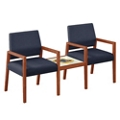 "Hampton Two Fabric Guest Chairs with Connecting Table - 22.5""W x 23.5""D, 76630"
