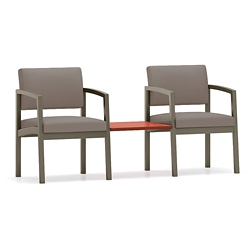 Two Designer Fabric Steel Frame Chairs and Center Table, 76900
