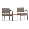 Two Steel Frame Chairs with Center Table , 76899