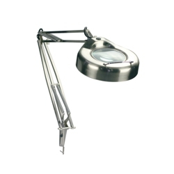 Polished Steel Three Diopter Magnifier Desk Lamp, 91168