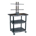 "Three Shelf Flat Panel TV Cart with Reinforced Shelf - 40"" H, 43207"