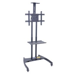 Adjustable Height Mobile Flat Panel Tv Stand with Shelf and Camera Mount, 43243