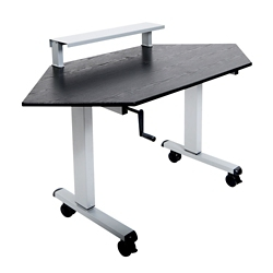 "Crank-Operated Height Adjustable Corner Desk with Riser - 58.75""W, 14818"