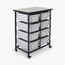 "Mobile Storage Cart with Eight Large Bins – 37.5""H, 37014"