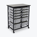 "Mobile Storage Cart with 12 Bins – 37.5""H, 37015"