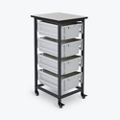 "Mobile Storage Cart with Four Large Bins – 37.5""H, 37017"