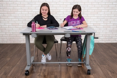 "Mobile Height Adjustable Student Desk - 48""W x 24""D , 16501"
