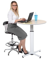 """Height Adjustable Table with Foot Pedal - 31.5""""DIA, 46291"""