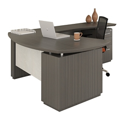 "Right Bowfront L-Desk with Modesty Panel - 72""W, 14129"