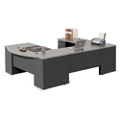 "Alloy Metal U Desk with Two File Drawers - 72""W, 14442"
