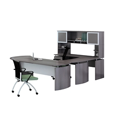 """Left Executive U-Desk with Hutch and Extension - 100""""W, 14470"""