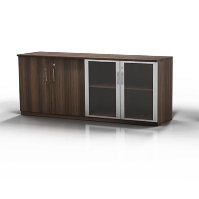 Glass Door Contemporary Storage Cabinet   72