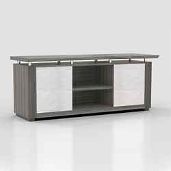"Six Shelf Low Wall Cabinet with Acrylic Doors - 72""W, 36596"