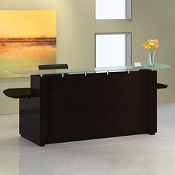 "Double Pedestal Reception Desk with Glass Counter - 96""W, 76412"
