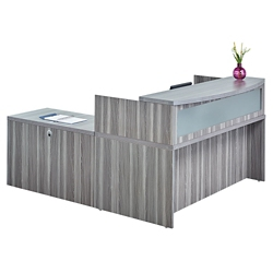 "Reception L Desk with Pedestal - 72""W, 76431"