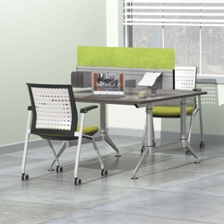 """Dual-Sided Two Person Workstation with Acoustic Privacy Panel - 48""""W x 48""""D, 14427"""