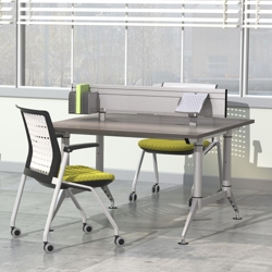 """Dual-Sided Two Person Workstation with Privacy Panel - 48""""W x 48""""D, 10011"""