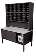Mailroom Organizer w/ Enclosed Storage, 50 Pockets, 220018