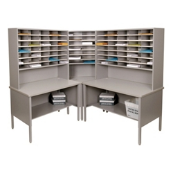 Mailroom Corner Organizer with Riser, Open Storage, 84 Fixed Pockets, 220019