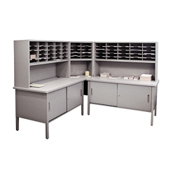 Mailroom Corner Organizer with Riser, Enclosed Cabinets, 60 Pockets, 220022