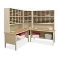 Mailroom Corner Organizer with Riser, Open Storage, 120 Pockets, 220023
