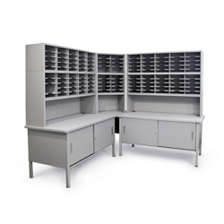 Mailroom Corner Organizer with Riser, Enclosed Cabinets, 120 Pockets, 220024