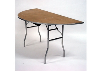 "Half Round Plywood Folding Table - 30""Dx60""W, 46764"