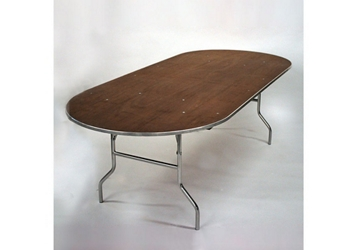"""Racetrack Plywood Folding Table - 42""""Dx96""""W, 46766"""