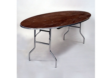 """Oval Plywood Folding Table - 60""""Dx72""""W, 46767"""