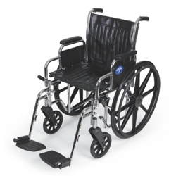 "Chrome-Framed Wheelchair with Swing Away Foot Rests - 18""W Seat, 25914"