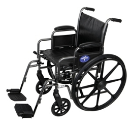 "Silver Vein Framed Wheelchair with Swing Away Foot Rests - 20""W Seat, 25920"