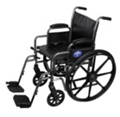 "Silver Vein Framed Wheelchair with Swing Away Leg Rests - 18""W Seat, 25917"