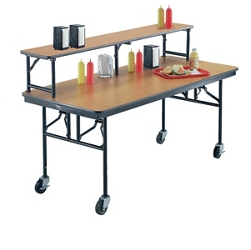 "Standing Height Mobile Folding Buffet Table with Riser - 72""W x 30""D, 40009"