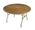"Plywood Folding Table with Wishbone Legs - 54"" Dia, 41369"