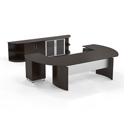 Executive U-Desk with Wall Storage, 14464