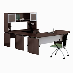 """Right Executive U-Desk with Hutch and Extension - 100""""W, 14469"""