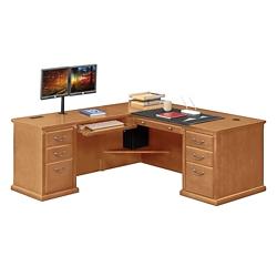 """Wheat Oak L-Desk with Left Return - 68""""W, 10160"""