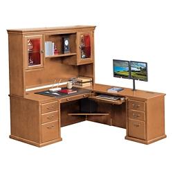 """Wheat Oak L-Desk with Right Return and Hutch - 69""""W, 10165"""