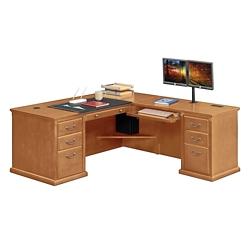 "Wheat Oak L-Desk with Right Return - 68""W, 10161"