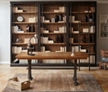 Cast Metal Base Writing Desk and Bookcase Wall Set, 35027