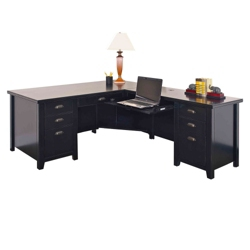 Distressed Black L-Desk with Right Return , 13475