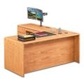 "Medium Oak L-Desk with Left Return - 68""W, 14365"