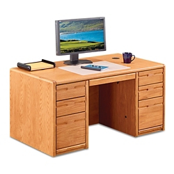 "Medium Oak Compact Double Pedestal Desk - 60""W, 14367"