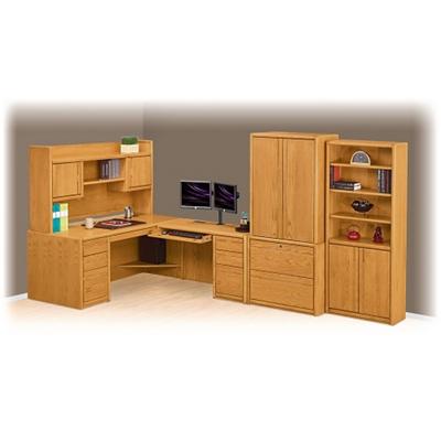 Medium Oak L Desk With Right Return Suite, 14371