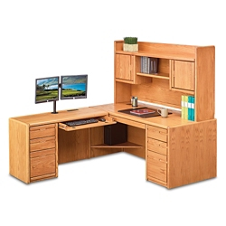 "Medium Oak L-Desk with Left Return and Hutch - 68""W, 14377"