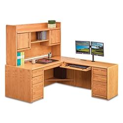 "Medium Oak L-Desk with Right Return and Hutch - 68""W, 14378"