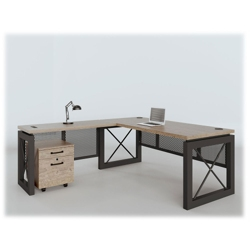 "Urban Compact Reversible L-Desk with Pedestal - 60""W x 80""D, 14395"