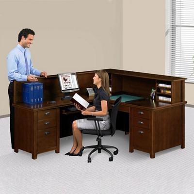 Left Return Reception L Desk With Counter, 14985