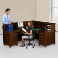 Left Return Reception L-Desk with Counter, 14985